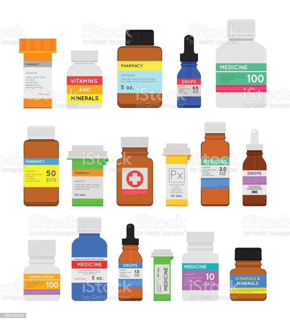 Conjunto plana de botellas de medicina - ilustración de arte vectorial