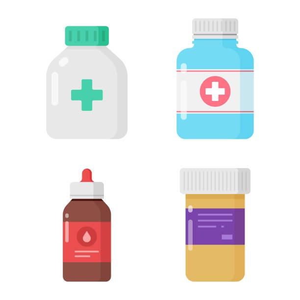 Medicine Bottles Icon Set. Pharmacy, Drugs, Medical Pills Concept Vector Illustration on White Background. Scalable to any size. Vector Illustration EPS 10 File. aspirin stock illustrations