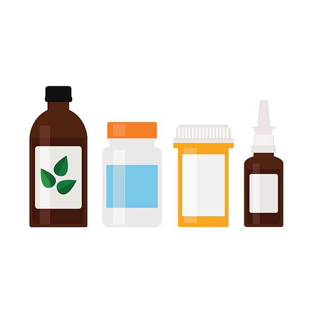 Medicine bottles set. Medicine bottles set. Modern pills bottles, nasal spray and cough syrup bottles. Isolated medicine bottles on white background. Healthcare. Flat style vector illustration.  aspirin stock illustrations