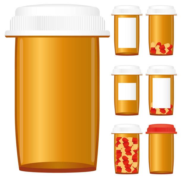 Medicine bottles vector art illustration