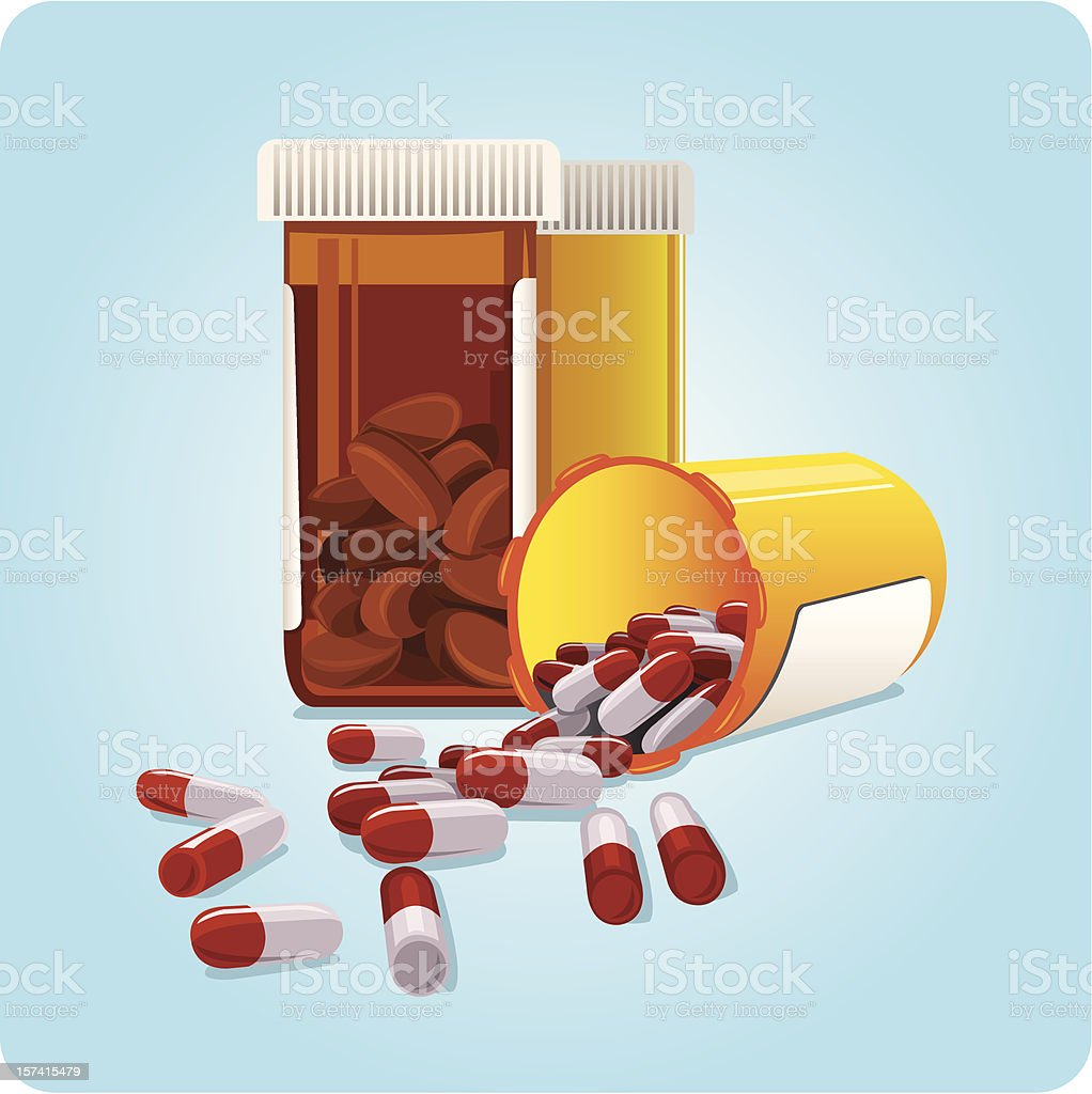 Medicine Bottles vector art illustration