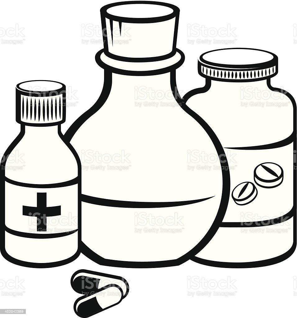 Medicine bottles royalty-free stock vector art