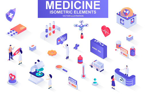 Medicine bundle of isometric elements. First aid kit, medicine, doctor, laboratory research, pharmacy industry, ambulance car isolated icons. Isometric vector illustration kit