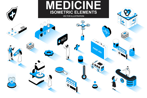 Medicine bundle of isometric elements. First aid kit, medicine, doctor, laboratory research, pharmacy industry, ambulance car isolated icons. Isometric vector illustration kit with people characters.