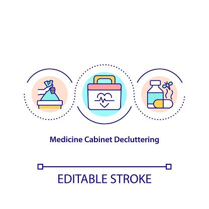 Medicine cabinet decluttering concept icon