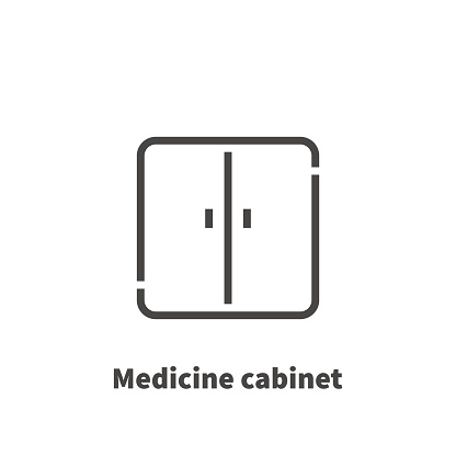 Medicine cabinet icon, vector symbol in line style isolated on white background. Editable 48x48 pixel perfect.