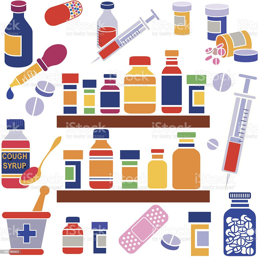 medicine cabinet vector art illustration