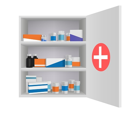 Medicine cabinet with tablets pills and drug bottles. Home pharmacy in bathroom 3d vector illustration. Open box with first aid medication, storage shelf with personal medicine objects