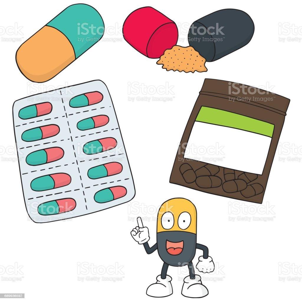 medicine capsule vector art illustration
