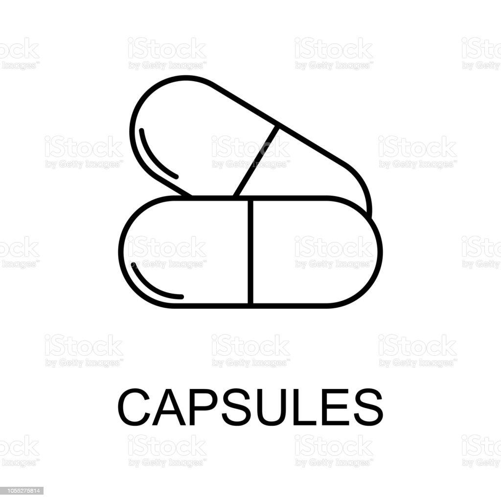 Ilustración de Icono De Línea De Cápsulas De La Medicina Elemento De