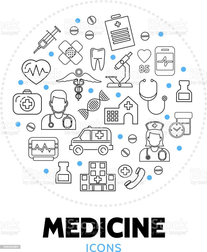 Medicine Care Round Concept vector art illustration