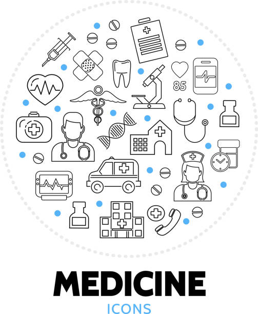medicine care round concept - doctors office stock illustrations, clip art, cartoons, & icons