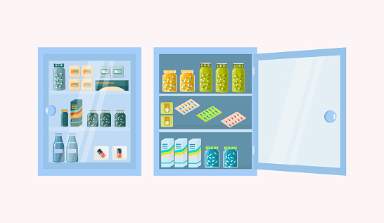 Medicine chest. Pharmacy shelf on wall, vector illustration. On the shelves there are drug, pills in blister packs, bottles. Open and closed pharmaceutical chest, for the first aid kit. Medical office