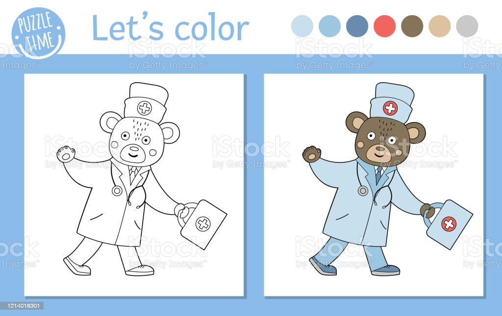 Medicine Coloring Page For Children Vector Bear Doctor Going With First Aid  Kit And Waving His