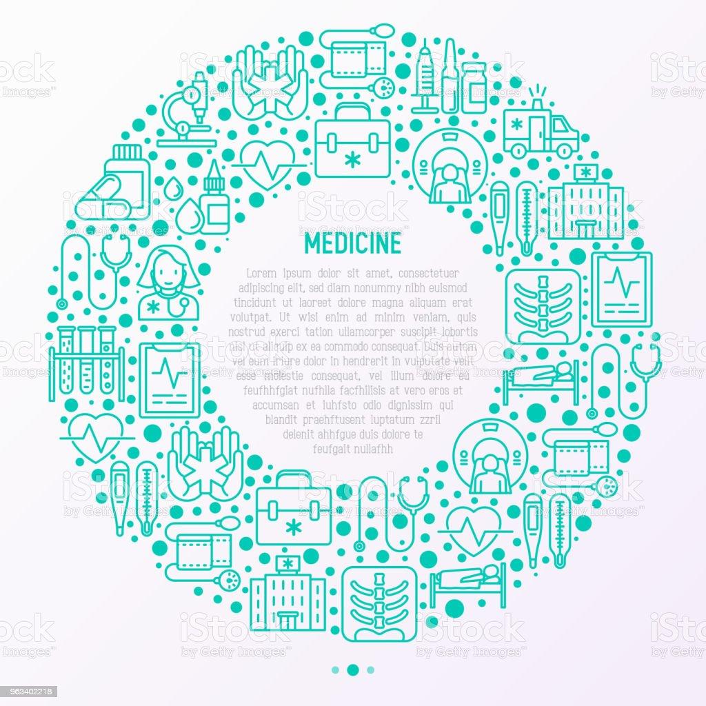 Medicine concept in circle with thin line icons: doctor, ambulance, stethoscope, microscope, thermometer, hospital, z-ray image, MRI scanner, tonometer. Vector illustration for medical survey, report. - Grafika wektorowa royalty-free (Ambulans)