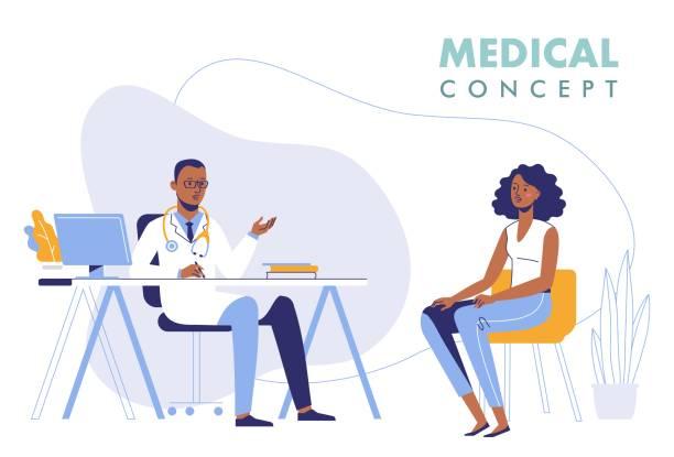 bildbanksillustrationer, clip art samt tecknat material och ikoner med medicin konceptet med svart läkare och patient. - allmänläkare