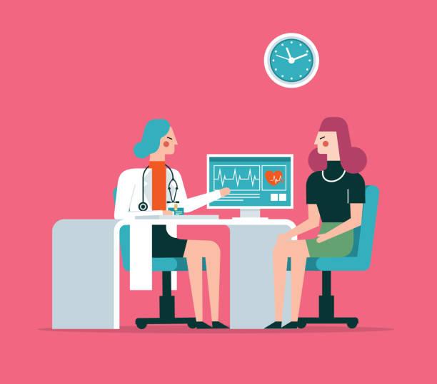 illustrazioni stock, clip art, cartoni animati e icone di tendenza di medicine concept with doctor and patient - female doctor - dottoressa