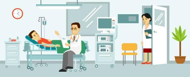 bildbanksillustrationer, clip art samt tecknat material och ikoner med medicin koncept med läkare och patient i sjukhussal - sjukhusavdelning