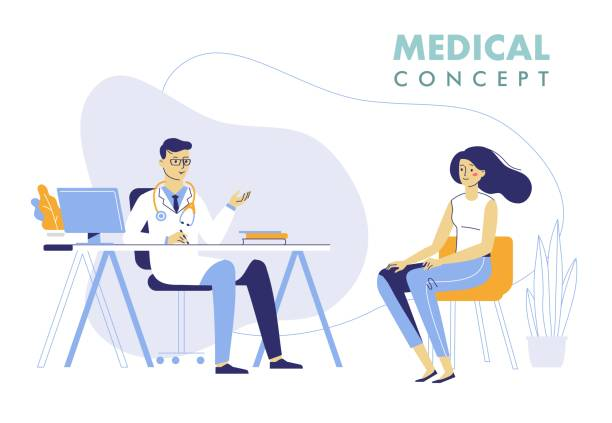 Medicine concept with doctor and patient. Practitioner doctor man and young woman patient in hospital medical office. Consultation and diagnosis. doctor and patient stock illustrations
