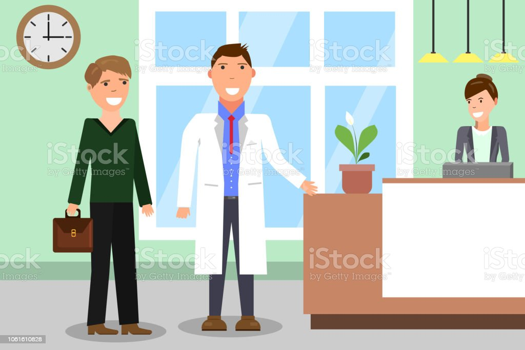 Medicine concept with doctor and patients on hospital hall...