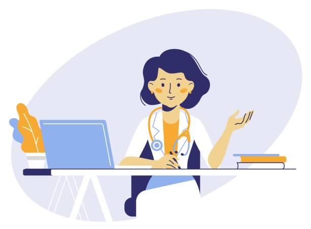 bildbanksillustrationer, clip art samt tecknat material och ikoner med medicin koncept med läkare i tunn linje stil - allmänläkare