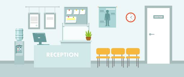 Medicine concept with empty hospital hall in flat style. Modern hospital reception interior with furniture and equipment. Vector illustration hospital background stock illustrations