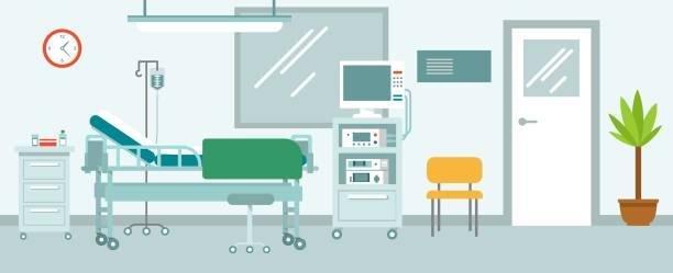 bildbanksillustrationer, clip art samt tecknat material och ikoner med medicin koncept med tomt sjukhus mottagning hall i platt stil. - sjukhusavdelning