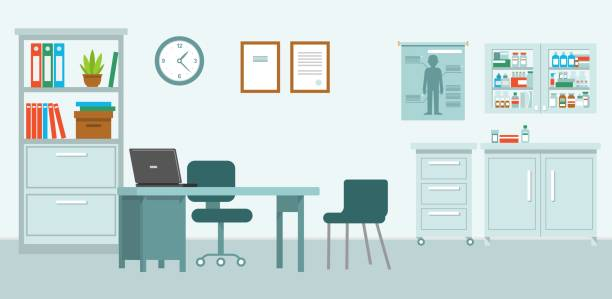 Medicine concept with empty medical office in flat style Modern hospital room interior with furniture and equipment for consultation and diagnosis. Vector illustration hospital background stock illustrations