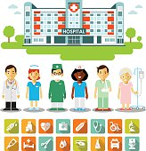 Set of medical infographic elements - doctors, nurses, patients, icons, hospital building in flat style