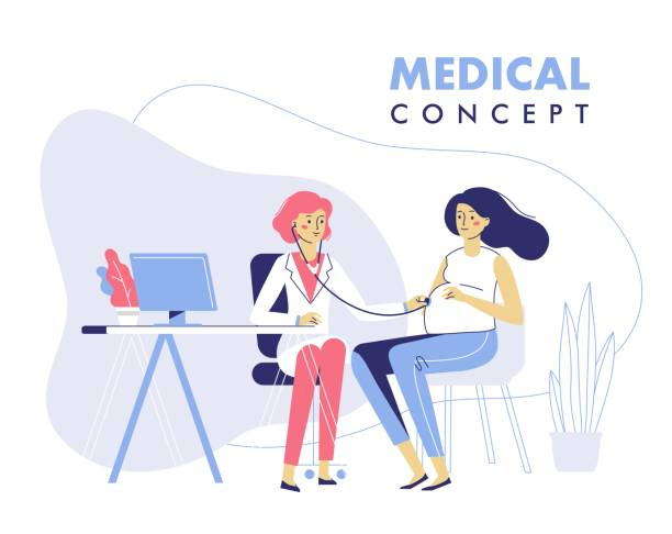 Medicine concept with practitioner doctor woman and young pregnant girl patient in hospital medical office. Doctor doing medical examination of pregnant with stethoscope. Consultation and diagnosis. gynecology stock illustrations