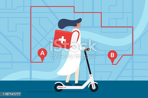 Medicine deliver pharmacy. Female doctor riding electric scooter with medical surgical sanitary box first aid on city street map plan with GPS pins and navigation route. Vector delivery illustration