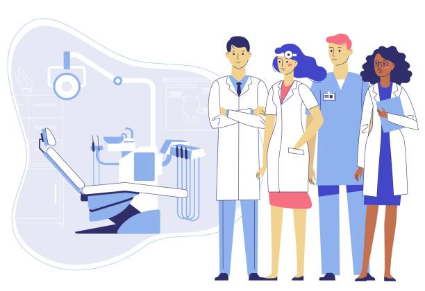 Medicine dental concept. Team of dentists in dentistry office. Group of young doctors man and woman standing together on dental chair background. Checkup and teeth medical examination. streptococcus mutans stock illustrations