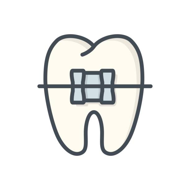 medicine dentist colored icon tooth - orthodontist stock illustrations, clip art, cartoons, & icons