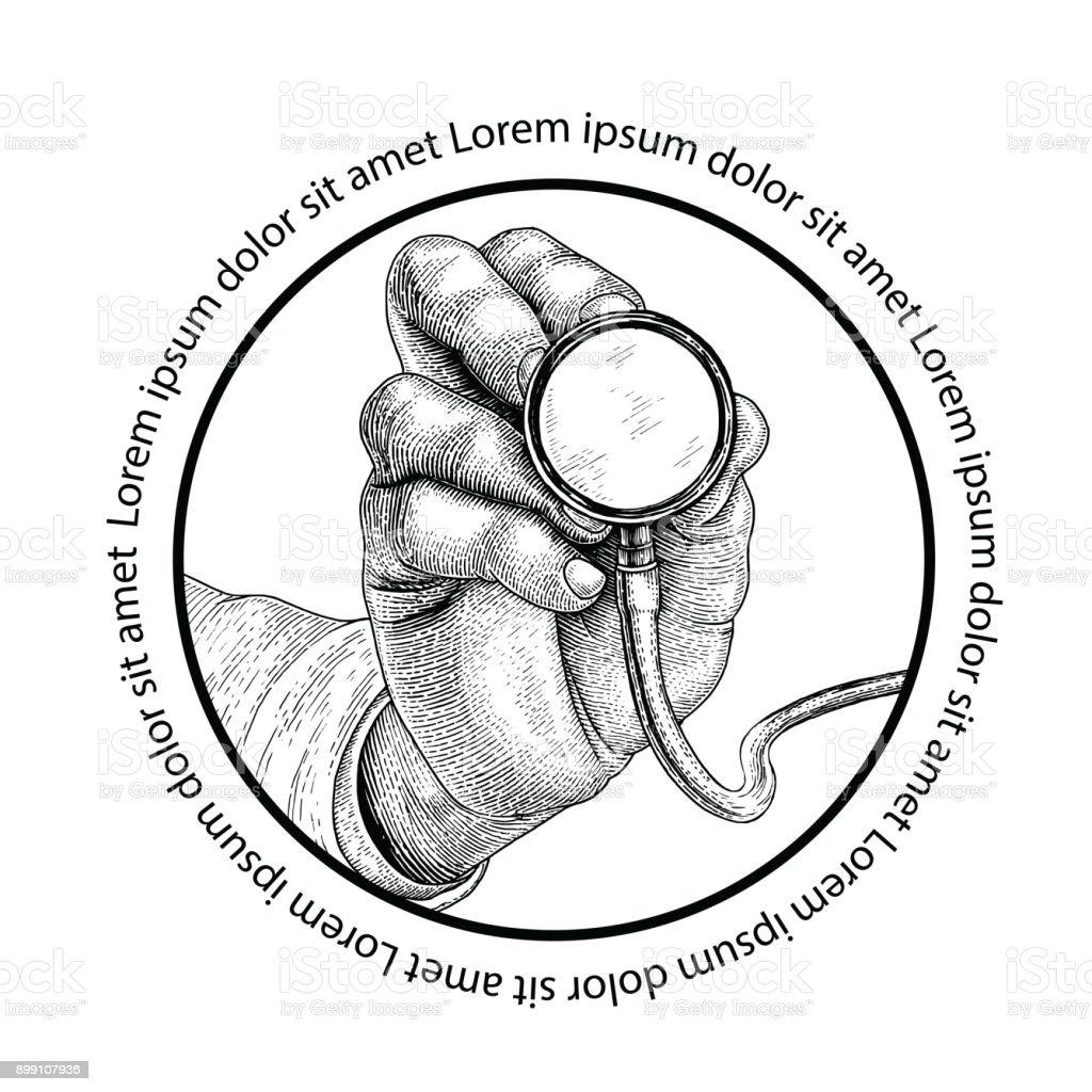 Maladie de diagnostic de médecine, main tenant le stéthoscope, logo de concept de médecine - Illustration vectorielle