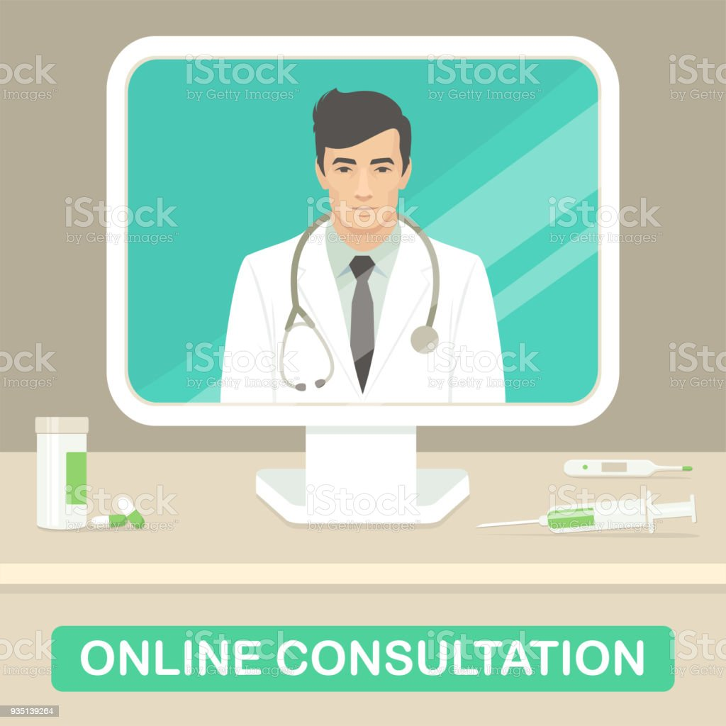medicine doctor, online medical consultation, health care service vector art illustration