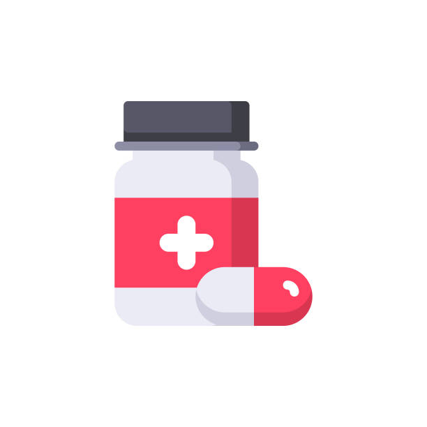 Medicine Flat Icon. Pixel Perfect. For Mobile and Web. Medicine Flat Icon. aspirin stock illustrations