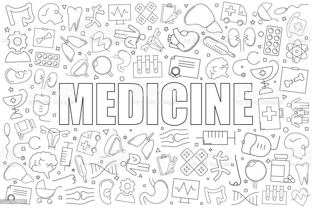 Medicine from line icon with word. Linear vector pattern. Vector illustration - illustrazione arte vettoriale