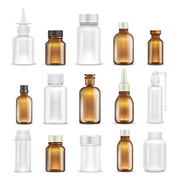 Medicine glass and plastic blank bottles isolated vector set vector art illustration
