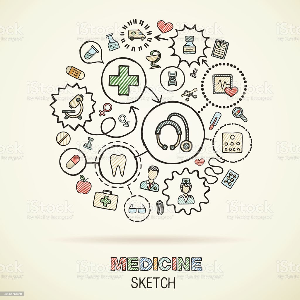 Medicine hand draw connected sketch icons. Vector doodle infographic illustration vector art illustration