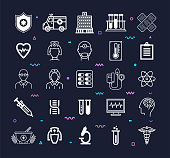 Medicine and health care education outline style symbols on dark background. Line vector icons set for infographics, mobile and web designs.