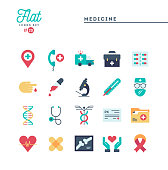 Medicine, health care, emergency, pharmacology and more, flat icons set