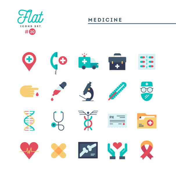 Medicine, health care, emergency, pharmacology and more, flat icons set vector art illustration