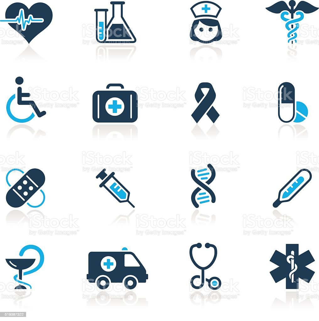 Gesundheitswesen Medizin &  Icons-blaue Serie – Vektorgrafik