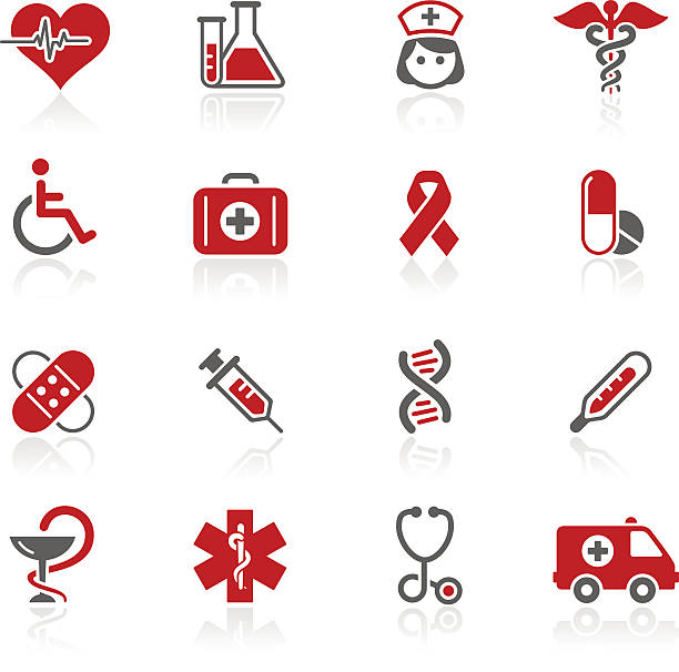 medicine & healthcare icons // redico series - first aid stock illustrations, clip art, cartoons, & icons