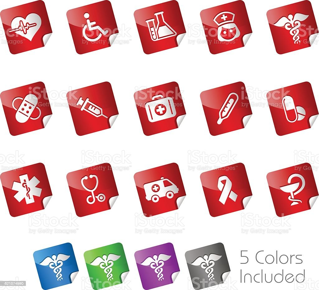 Medicine & Healthcare Icons // Stickers Series medicine healthcare icons stickers series – cliparts vectoriels et plus d'images de adn libre de droits
