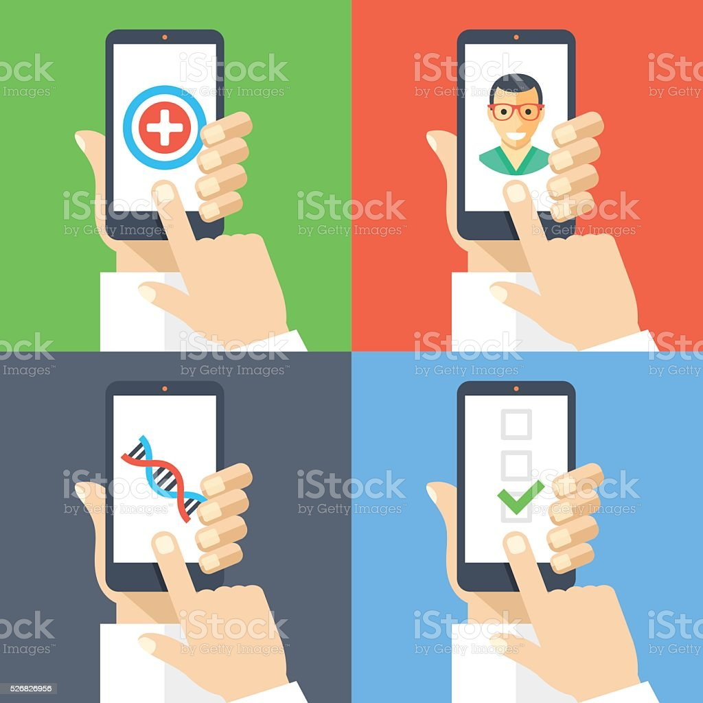 Medicine, healthcare, online doctor, call ambulance, diagnosis, medical insurance concepts vector art illustration
