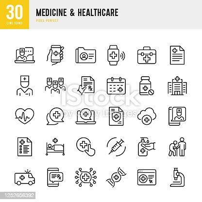 Medicine & Healthcare - thin line vector icon set. 30 linear icon. Pixel perfect. The set contains icons: Telemedicine, Doctor, Senior Adult Assistance, Prescription, Pill Bottle, First Aid, Medical Exam, Medical Insurance, Hospital.