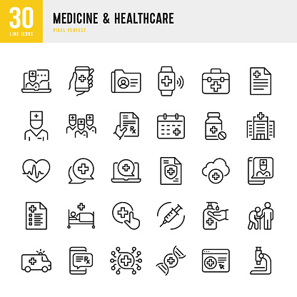 Medicine & Healthcare - thin line vector icon set. Pixel perfect. The set contains icons: Telemedicine, Doctor, Senior Adult Assistance, Pill Bottle, First Aid, Medical Exam, Medical Insurance.