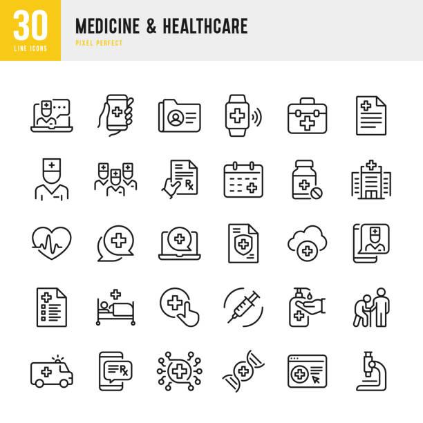 illustrations, cliparts, dessins animés et icônes de médecine et soins de santé - jeu d'icônes vectorielles à ligne mince. pixel parfait. l'ensemble contient des icônes: télémédecine, médecin, aide aux adultes seniors, bouteille de pilule, premiers soins, examen médical, assurance médicale. - medecin covid