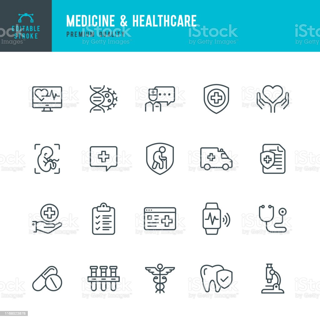 Medicine & Healthcare - vector line icon set. Editable Stroke. Perfect Pixels. Medicine, Insurance, Pregnancy, Ambulance car, Caduceus, - Grafika wektorowa royalty-free (Ambulans)